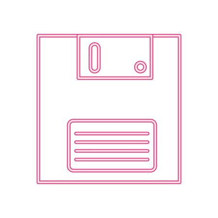 floppy nineties retro style neon light vector illustration design