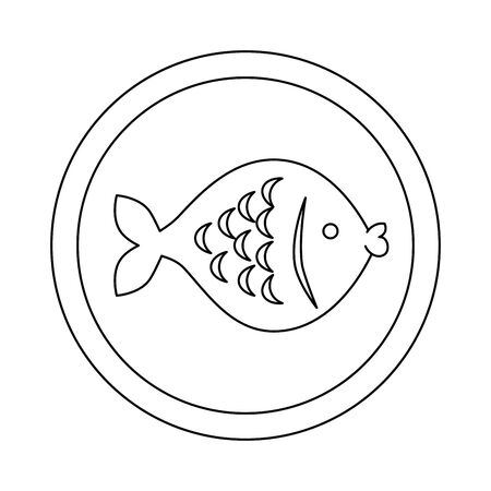 cute fish in frame circular vector illustration design 向量圖像