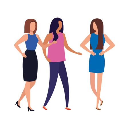group of business people elegant avatar character vector illustration design Foto de archivo - 140202721