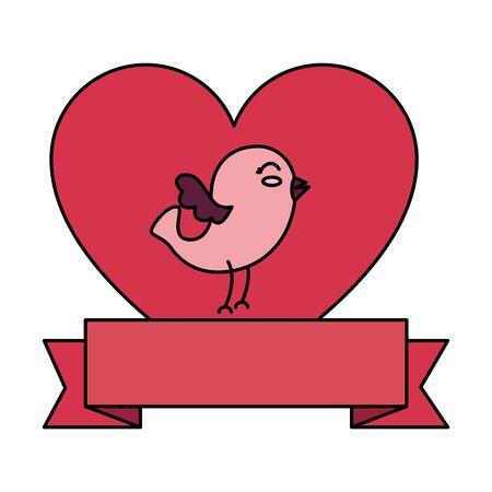 cute bird with heart and ribbon vector illustration design Ilustração