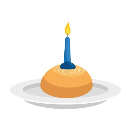 set of delicious round breads with candle vector illustration design Illustration