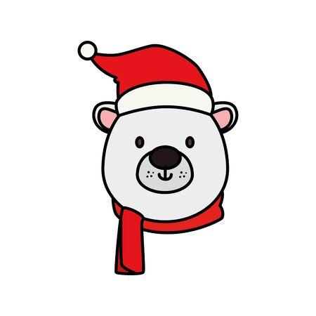 head of cute bear character merry christmas vector illustration design