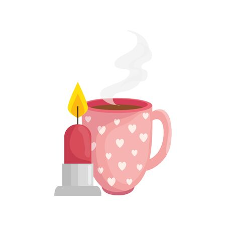 cup coffee with candle isolated icon vector illustration design
