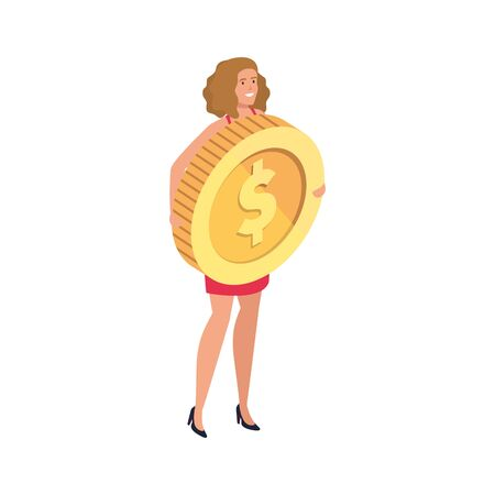 beautiful woman with coin isolated icon vector illustration design Zdjęcie Seryjne - 140204435