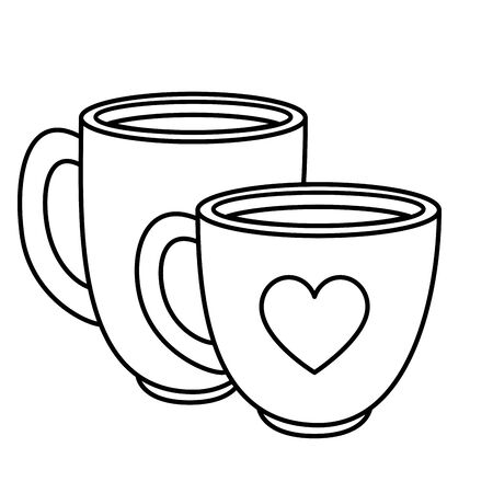 cups coffee delicious isolated icon vector illustration design