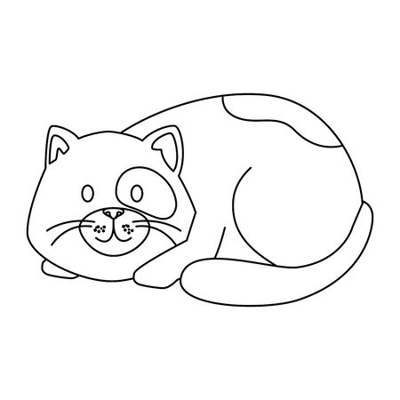 cute little cat animal line style icon vector illustration design  イラスト・ベクター素材