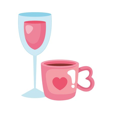 cup coffee and cup glass with wine vector illustration design Ilustracja