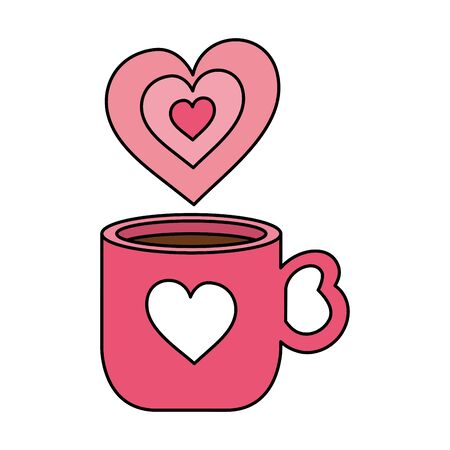 cup coffee with hearts isolated icon vector illustration design Zdjęcie Seryjne - 140206416