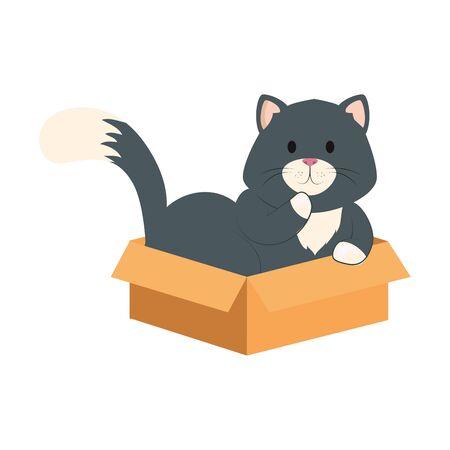 cute little cat in box carton isolated icon vector illustration design Vektoros illusztráció