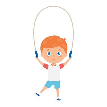 cute little boy with jump rope vector illustration design 矢量图像