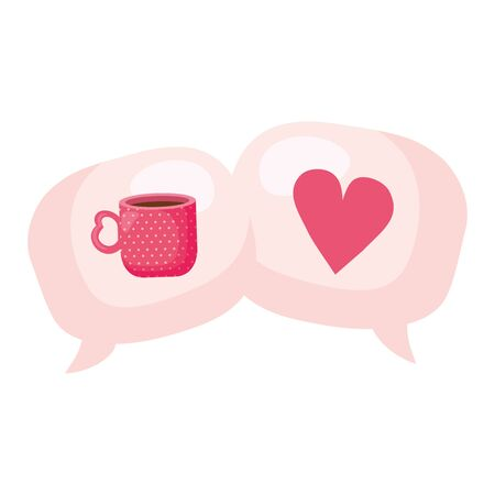 speech bubbles with heart and cup coffee vector illustration design Ilustracja