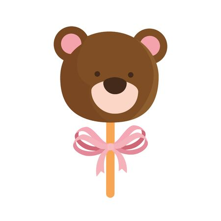 face of cute teddy bear in stick isolated icon vector illustration design 矢量图像