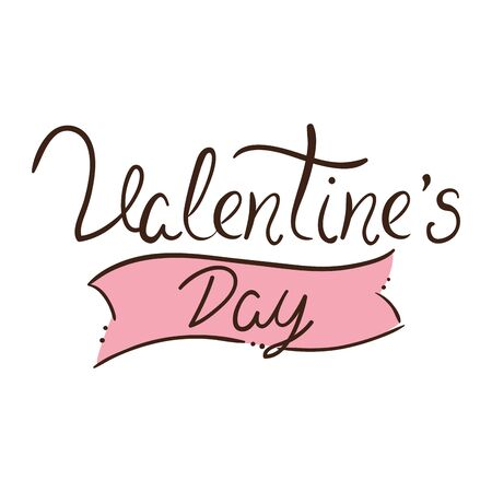 valentines day lettering in ribbon decoration vector illustration design 矢量图像