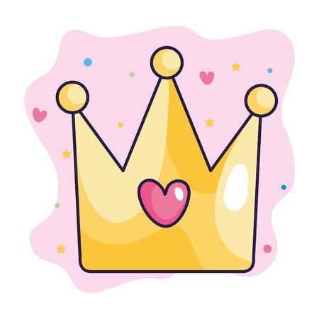 crown with heart and cute decoration vector illustration design