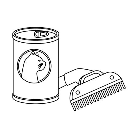 comb pet with can food cat isolated icon vector illustration design