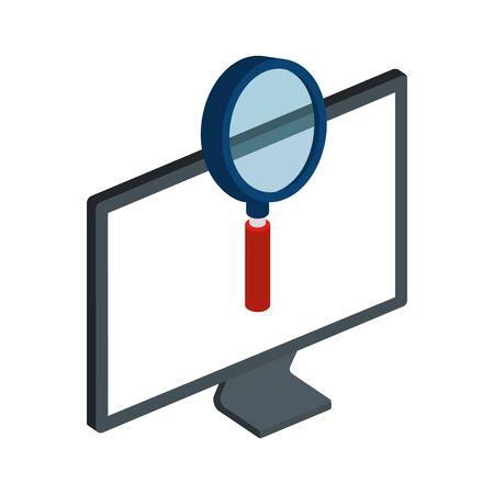 computer desktop with magnifying glass vector illustration design  イラスト・ベクター素材