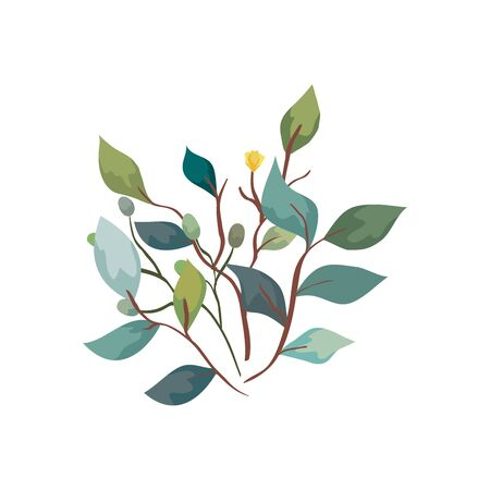 branches with leafs nature ecology isolated icon vector illustration design