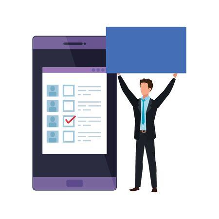 businessman with smartphone for vote online vector illustration design Ilustração