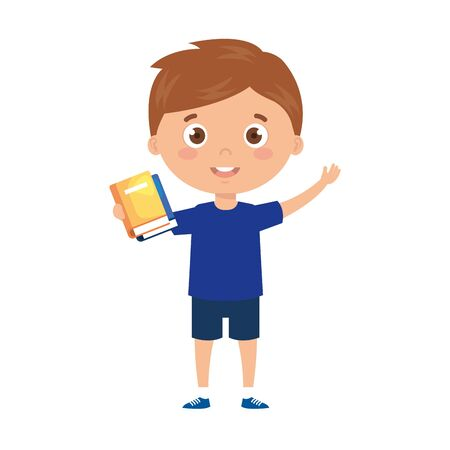 student boy with reading book in the hands vector illustration design