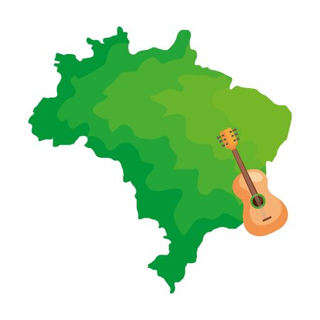 guitar with map of brazil isolated icon vector illustration design