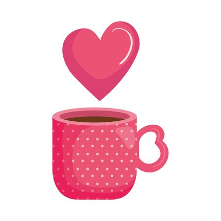 cup coffee with heart isolated icon vector illustration design