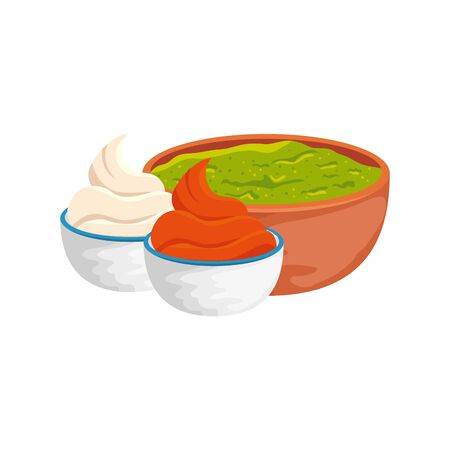 bowl with delicious guacamole and sauces isolated icon vector illustration design