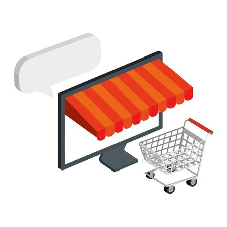 cart shopping and computer with parasol vector illustration design