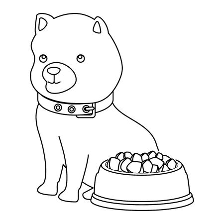 cute dog with dish food line style icon vector illustration design