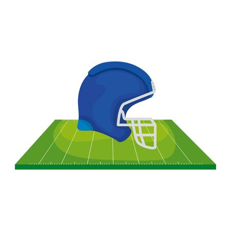 helmet and field american football isolated icon vector illustration design