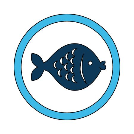 cute fish in frame circular vector illustration design Ilustração