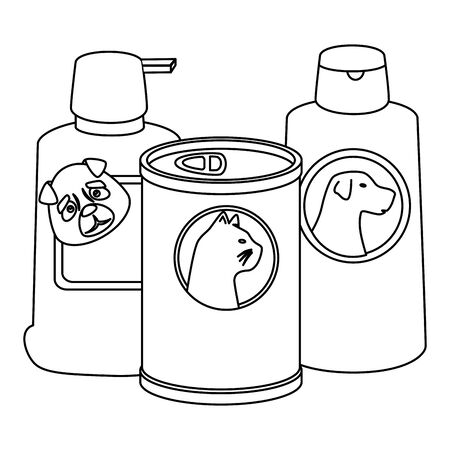 dog care bottles with food cat in can vector illustration design