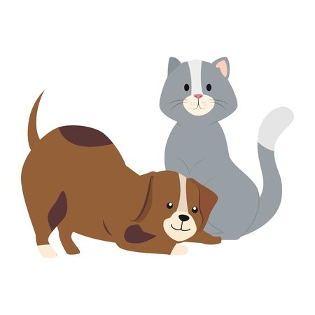 cute cat and dog animals isolated icon vector illustration design  イラスト・ベクター素材