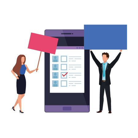business couple with smartphone for vote online vector illustration design Ilustração