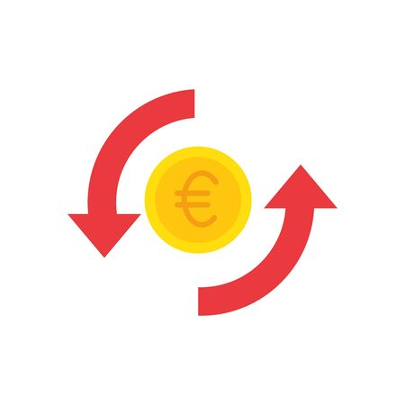 Euro coin of money financial item banking commerce market payment buy currency accounting and invest theme Vector illustration