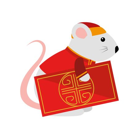 cute rodent rat with chinese card vector illustration design