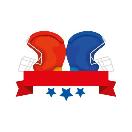 american football helmets with ribbon and stars vector illustration design
