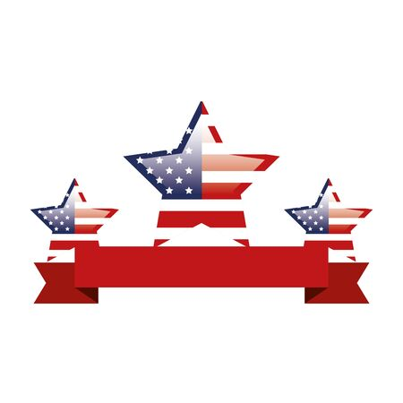 set of united states flags in shape stars with ribbon vector illustration design