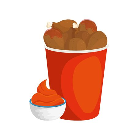 set of chicken food in container with sauce isolated icon vector illustration design