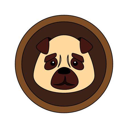 face of cute dog animal in frame circular vector illustration design