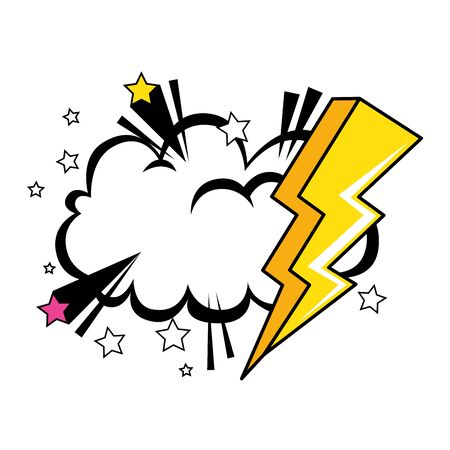 thunderbolt with cloud pop art style icon vector illustration design