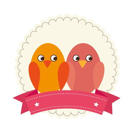 cute birds with ribbon isolated icon vector illustration design