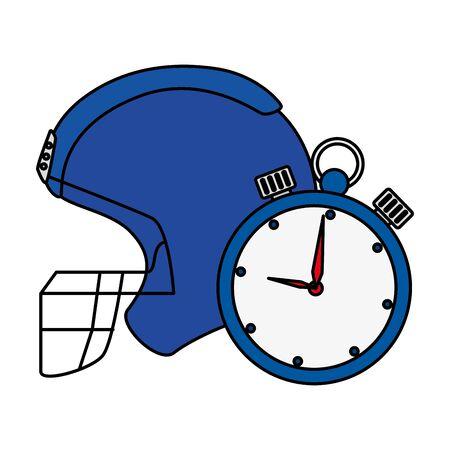 american football helmet with chronometer vector illustration design Stock Illustratie