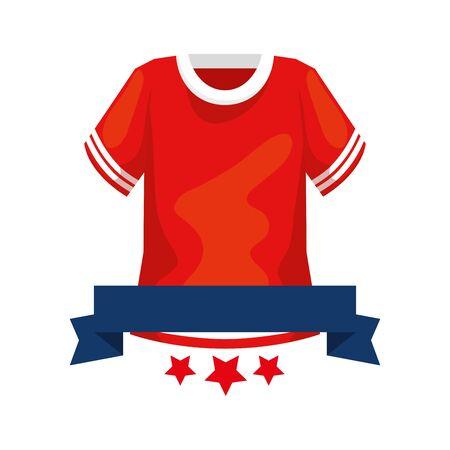 american football shirt with ribbon and stars vector illustration design