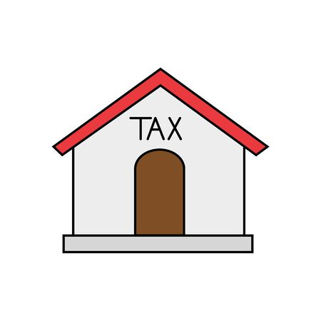 Tax house of financial accoounting form revenue finance government income taxation refound and paying theme Vector illustration