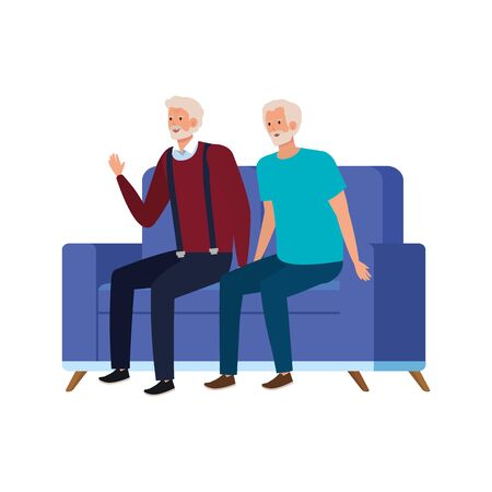 old men seated in sofa avatar character vector illustration design