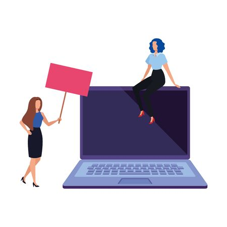 business women with laptop avatar character vector illustration design