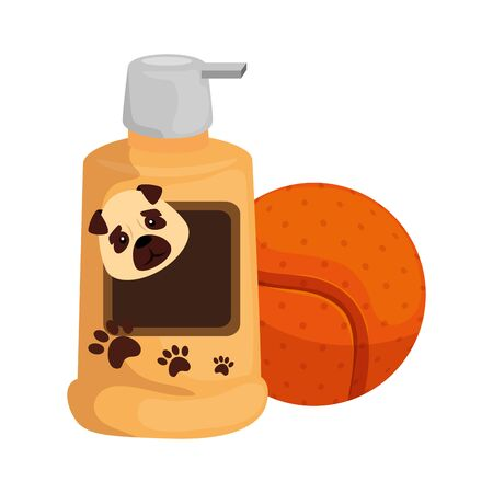 dog care bottle with ball toy isolated icon vector illustration design Vettoriali