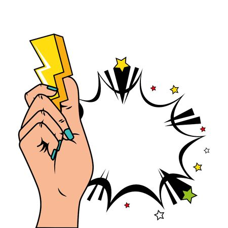 hand with thunderbolt and explosion pop art style icon vector illustration design