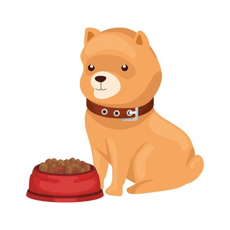 cute dog with dish food isolated icon vector illustration design 向量圖像