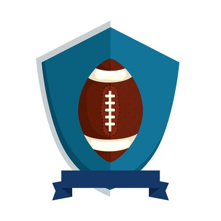 american football helmet in shield isolated icon vector illustration design